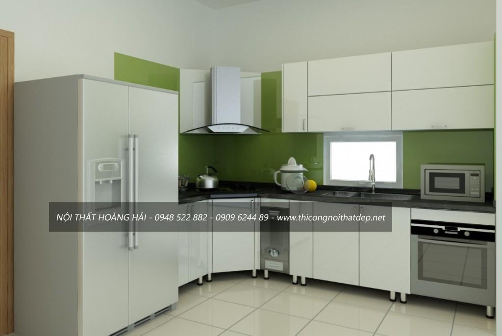 Tủ bếp inox có bo viền khung bằng aluminium cao cấp