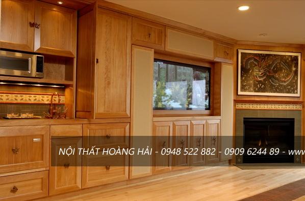Thiết kế tủ bếp gỗ gõ đỏ giá rẻ