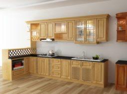 Mẫu thiết kế tủ bếp gỗ sồi Nga cho căn hộ chung cư