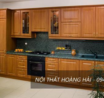 Tủ bếp dáng chữ I cao cấp bằng gỗ xoan đào