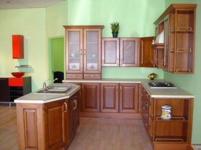 Tủ bếp gỗ xoan đào dáng chữ U đẹp