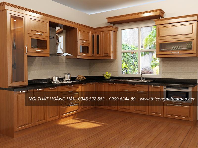 Tủ bếp gỗ xoan đào dáng chữ L cổ điển đẹp