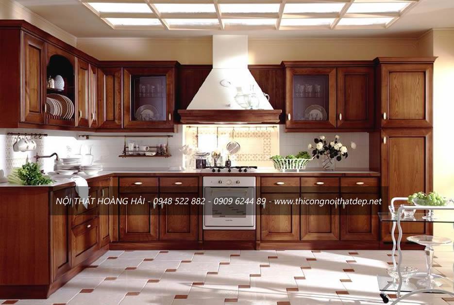 Những mẫu tủ bếp gỗ gõ đỏ đẹp