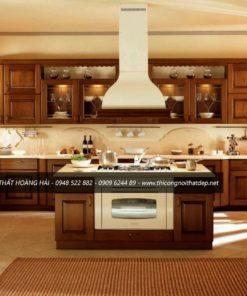 Mẫu tủ bếp gỗ sồi Mỹ chữ I sang trọng