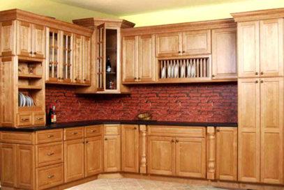 Tủ bếp gỗ sồi Mỹ dáng chữ L đẹp
