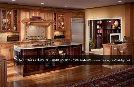những mẫu tủ bếp gỗ sồi Mỹ