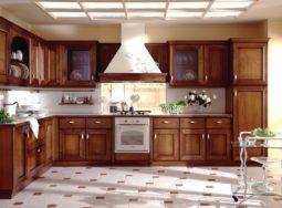 Mẫu tủ bếp gỗ sồi Nga dáng chữ L cực đẹp