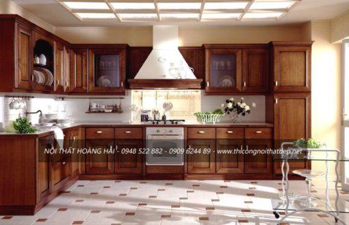 Mẫu tủ bếp gỗ sồi Nga dáng chữ L sang trọng