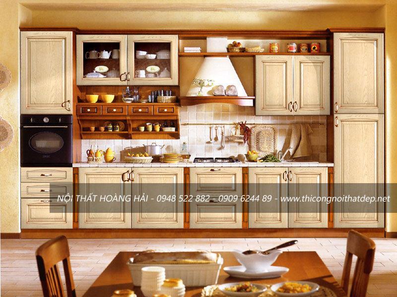 Mẫu tủ bếp gỗ sồi màu trắng cực đẹp