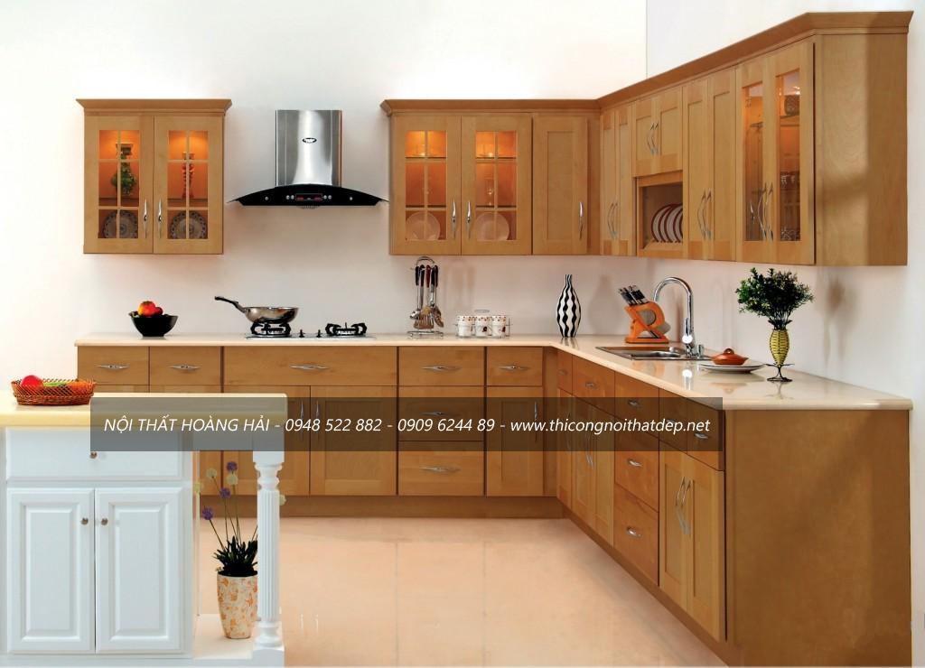 Mẫu tủ bếp gỗ xoan đào dáng chữ L cho chung cư