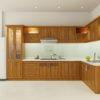 Thiết kế tủ bếp gỗ sồi mỹ hình chữ L
