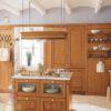 Tủ bếp gỗ sồi mỹ có bán đảo