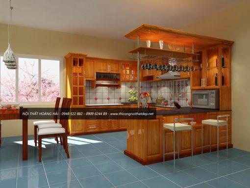 Tủ bếp gỗ sồi mỹ có quầy bar