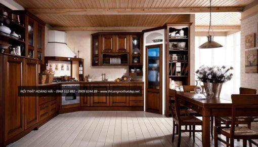 Mẫu tủ bếp gỗ sồi mỹ đẹp