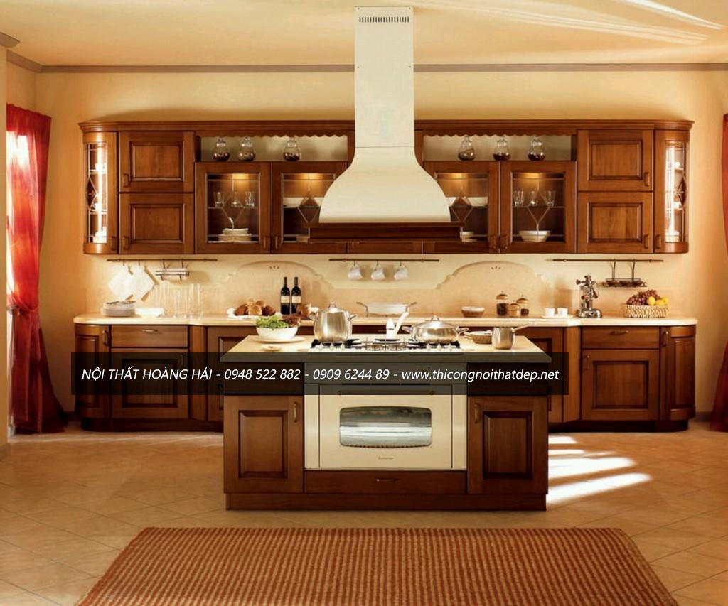 Mẫu tủ bếp kiểu chữ I gọn nhẹ, tiết kiệm không gian