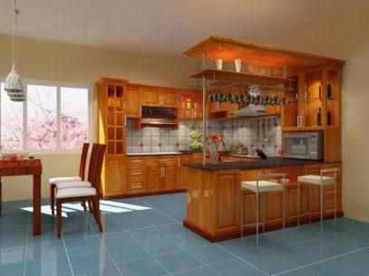 Tủ bếp gỗ sồi mỹ có quầy bar hiện đại thể hiện đẳng cấp vượt trội