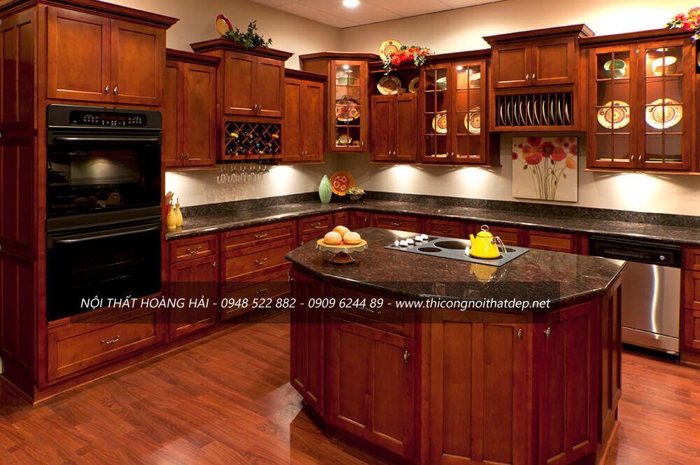 Mẫu tủ bếp gỗ gõ đỏ đẹp