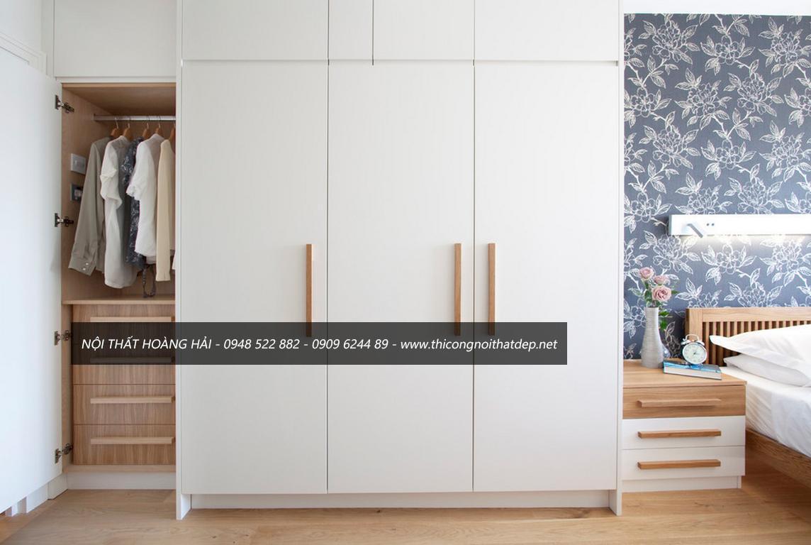 Tủ quần áo gỗ sơn trắng