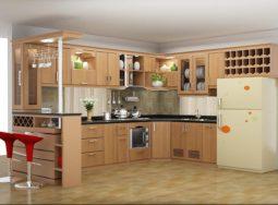 Thiết kế tủ bếp gỗ sồi Nga hình chữ U cực đẹp