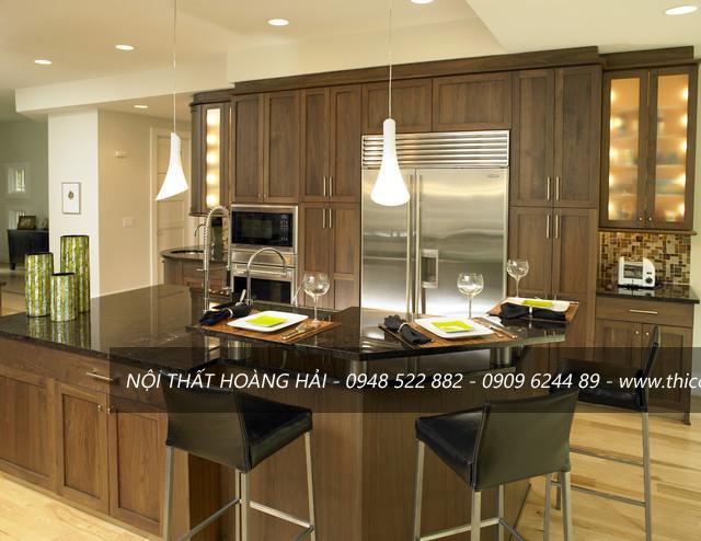 Tủ bếp gỗ tự nhiên óc cho