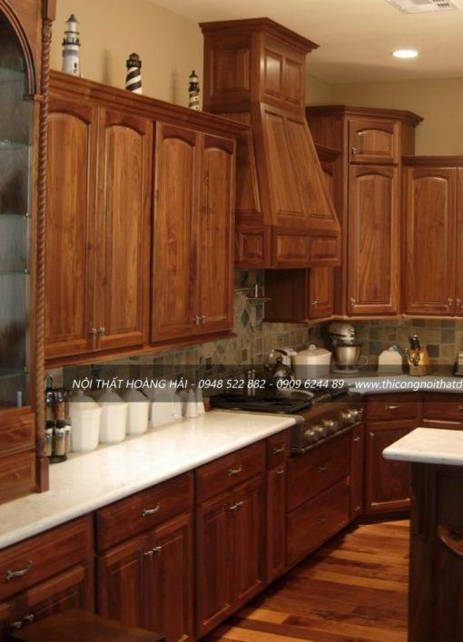 Thiết kế tủ bếp gỗ óc chó giá rẻ