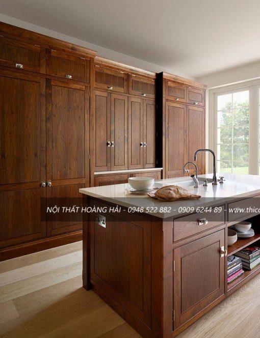 thiết kế mẫu tủ bếp gỗ tự nhiên Óc chó đẹp