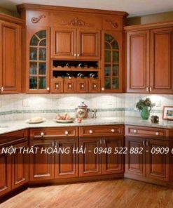 Mẫu tủ bếp gỗ xoan đào dành cho căn nhà nhỏ