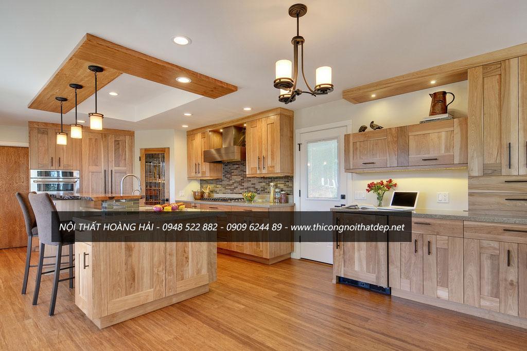 Mẫu tủ bếp gỗ sồi mỹ dành cho bếp rộng đẹp