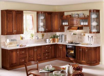 Tủ bếp gỗ gõ đỏ đẹp