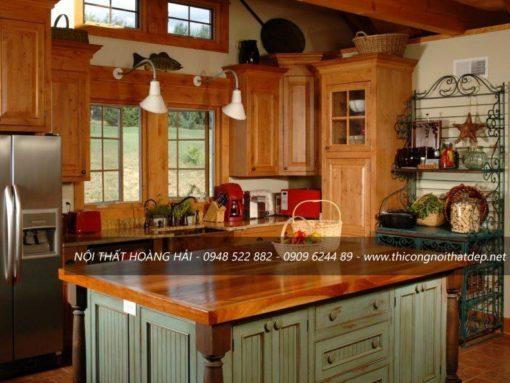 Tủ bếp gỗ gõ tân cổ điển