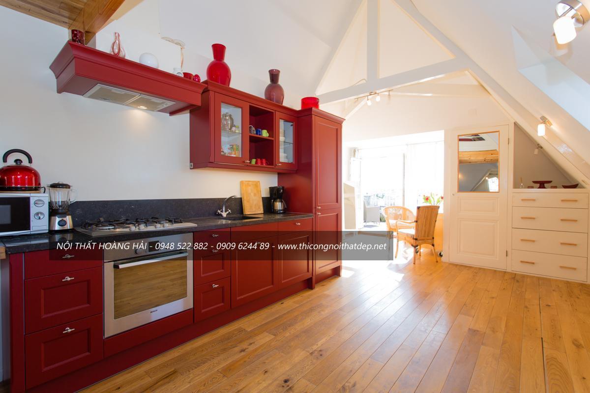 Tủ bếp gỗ gõ đỏ cho biệt thự