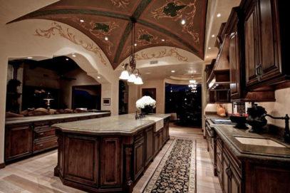 hiết kế tủ bếp gỗ gõ đỏ phong cách châu Âu