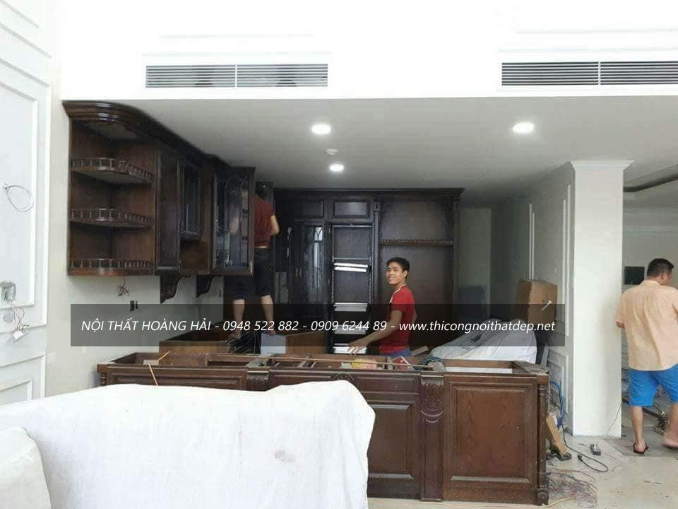 thi công tủ bếp gỗ giáng hương tại Quảng Ninh