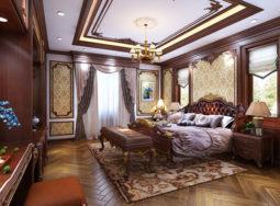 Thi công nội thất biệt thự cổ điển bằng gỗ gõ đỏ tại Hà Nội