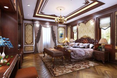 Mẫu nội thất phòng ngủ biệt thự cổ điển