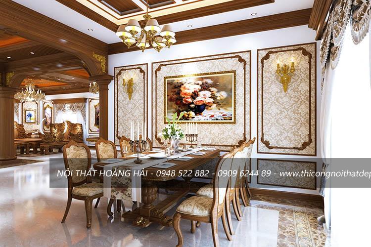 Nội thất phòng ăn biệt thự cổ điển bằng gỗ gõ đỏ