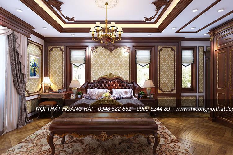 Thi công nội thất phòng ngủ bằng gỗ gõ đỏ