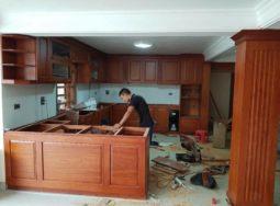 Công trình thi công tủ bếp gỗ tự nhiên tại nhà anh Tín