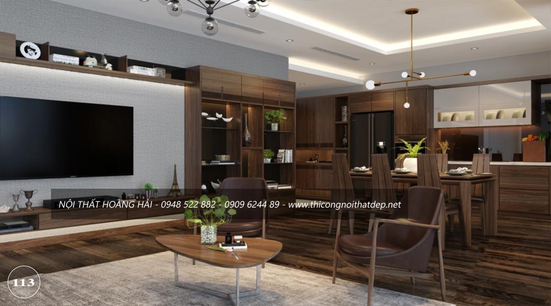 Mẫu thiết kế nội thất phòng khách bằng gỗ óc chó