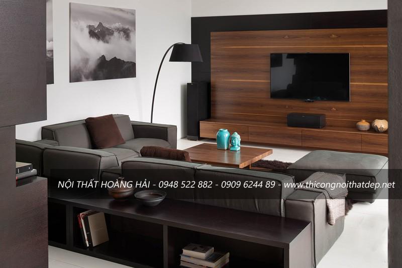 Mẫu thiết kế nội thất phòng khách gỗ óc chó đẹp