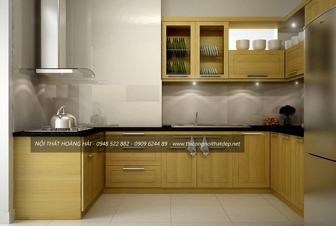 Thiết kế, thi công tủ bếp gỗ sồi Mỹ