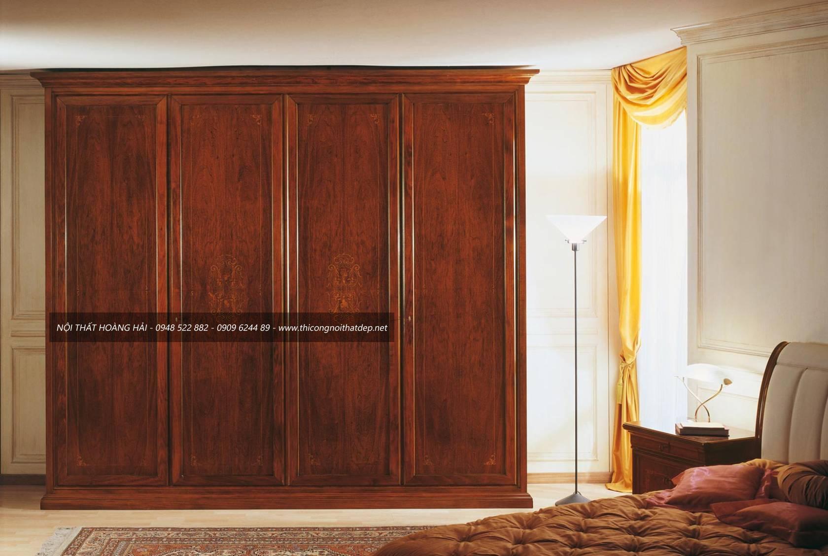 tủ quần áo gỗ giáng hương thiết kế theo phong cách hiện đại