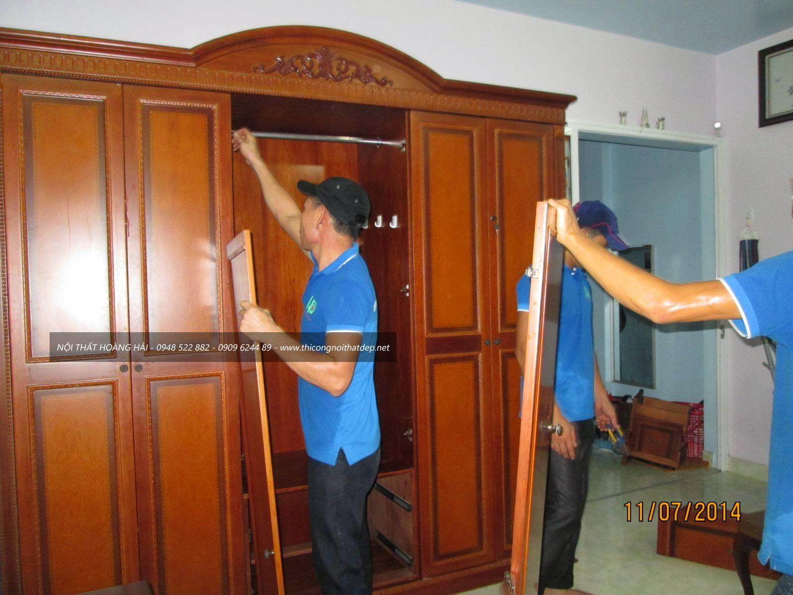 thi công tủ quần áo gỗ giáng hương tại Thái Bình