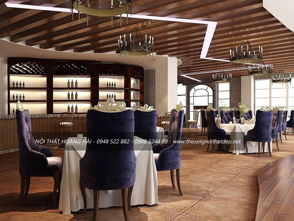 Thiết kế nội thất nhà hàng sang chảnh theo phong cách châu Âu