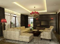 Thi công nội thất phòng khách biệt thự Lam Sơn