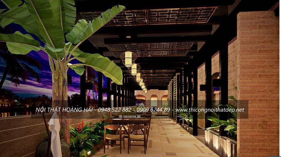 thiết kế nội thất nhà hàng độc đáo với vật liệu kính và cây xanh