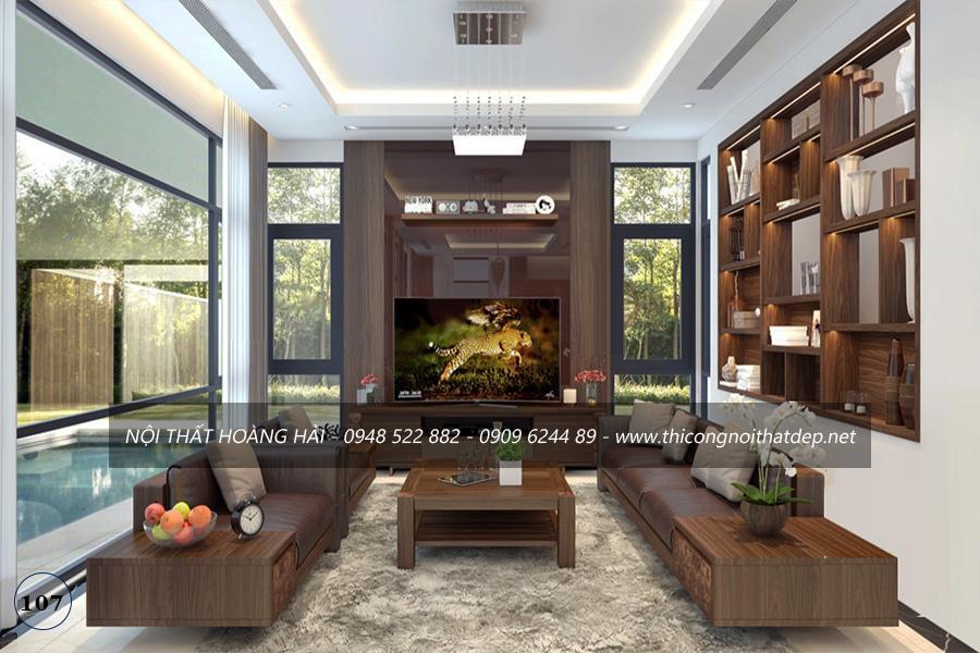 Thiết kế nội thất biệt thự đẳng cấp với gỗ óc chó