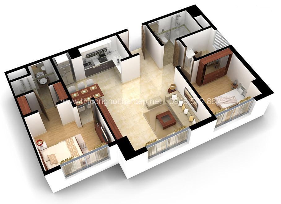thiết kế nội thất chung cư 52m vuông