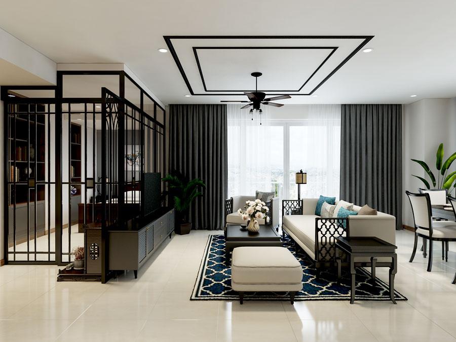 Mẫu thiết kế nội thất phòng khách căn hộ chung cư Diamond Island rộng 150m²