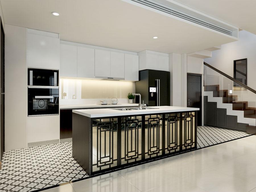 Mẫu thiết kế nội thất phòng bếp căn hộ chung cư Diamond Island rộng 150m²